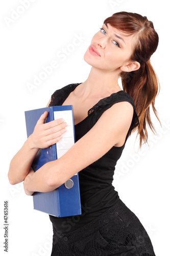 Girl in black hugs large blue folder isolated on white