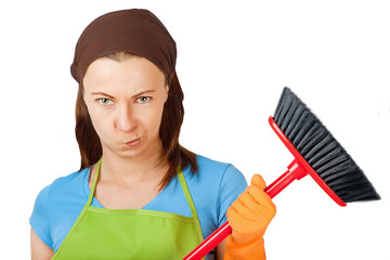 sceptic young woman with broom