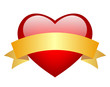 Red vector heart with blank ribbon, add your text