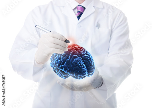 Doctor working on a virtual brain