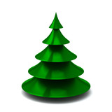 Stylized green Christmas tree, 3d