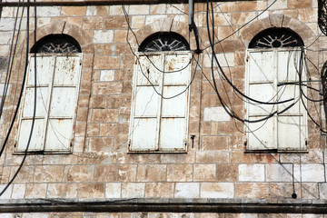 old closed windows in Jerusalem old city