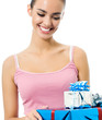 Young smiling woman with gift, isolated
