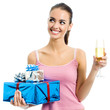Young woman with gift and champagne, isolated