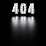 Error 404 sign with light