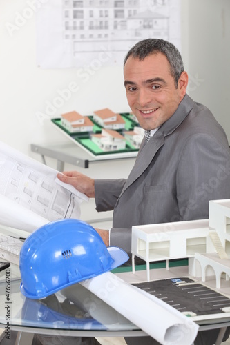 An architect working in his office