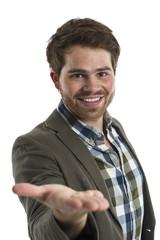 Mann zeigt seine Handfläche