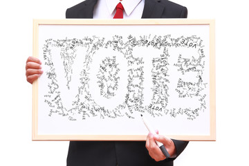 businessman show idea on whiteboard