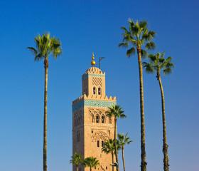 Koutoubia Mosque minaret in Marrakech, Morocco