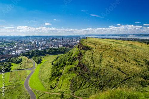Edinburgh and green hills in summer
