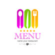 kitchen colored logo menu sign icon