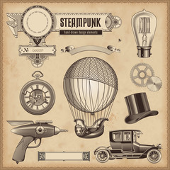 vector set: steampunk design elements