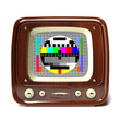 vintage tv showing test pattern 3d illustration