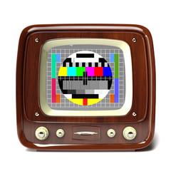 vintage tv showing test pattern 3d illustration