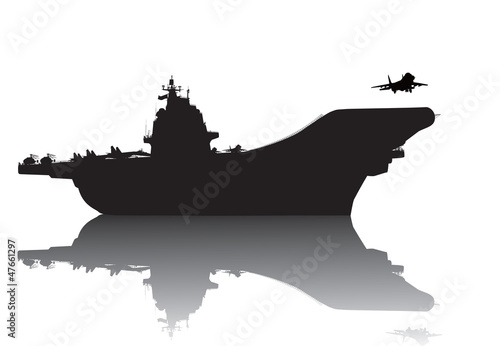 Aircraft carrier high-detailed vector silhouette