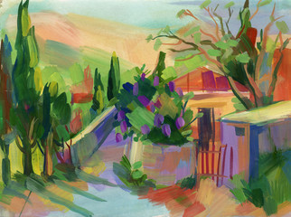 Crimean sketch in gouache. Hand-drawn