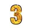 3 - Trois - Chiffre de luxe en or