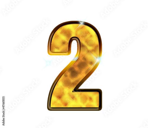 2 - Deux - Chiffre de luxe en or
