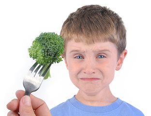 Boy and Healthy Broccoli Diet on White