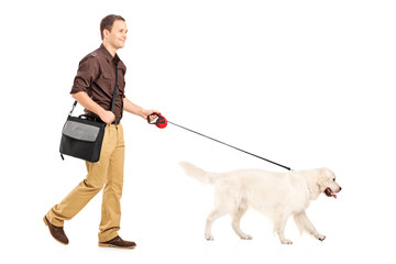 Full length portrait of a guy with shoulder bag walking a dog