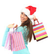 beautiful young woman with shopping bags, isolated on white