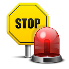 Red Flashing Emergency Light and Stop Sign