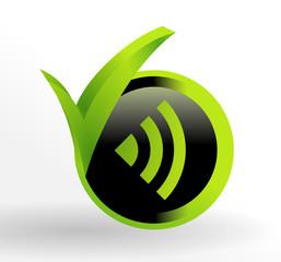 icône réseau sur bouton vert et noir