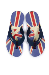 Flip flops with UK britain flag on white