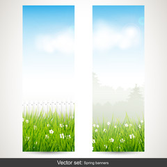 Spring vertical banners - vector set