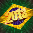 golden figures year 2013 over shining Brazilian flag