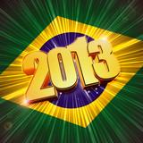 golden figures year 2013 over shining Brazilian flag