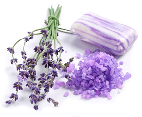 Bunch of lavender and sea salt.