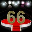 Zahl 66 auf Bühne im Rampenlicht