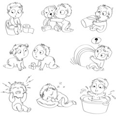 Playing with big ball, hugging teddy bear, wash in bath tub