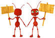 ant cartoon holding a sing front and back view
