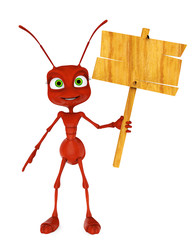 ant cartoon holding a sign
