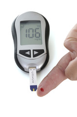 glucometer, with a 106 reading displayed.