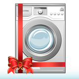 Gift washing machine. Sale. Vector