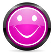 smile violet glossy icon on white background