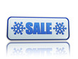 winter sale white banner with snowflakes symbol