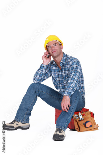 Worker taking a call
