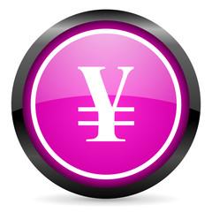 yen violet glossy icon on white background