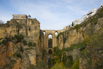 Ronda bridge. White village in Malaga, Spain