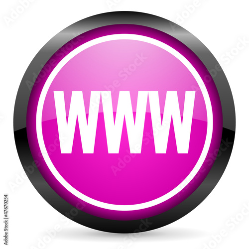 www violet glossy icon on white background