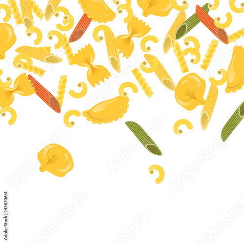 Vector Illustration of a Background with Various Pasta Types