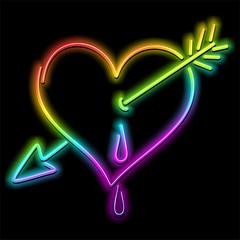 Love Heart and Arrow Psychedelic Neon-Cuore Amore e Freccia