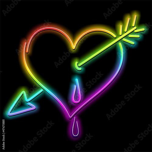 Love Heart and Arrow Psychedelic Neon-Cuore Amore e Freccia