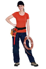 Tradeswoman holding a wire