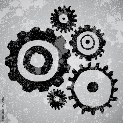 Abstract grunge vector background with gears