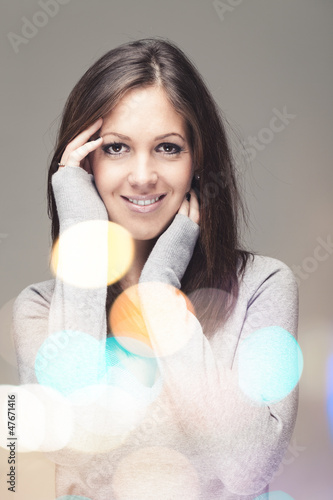 Pretty portrait with colorful lensflares